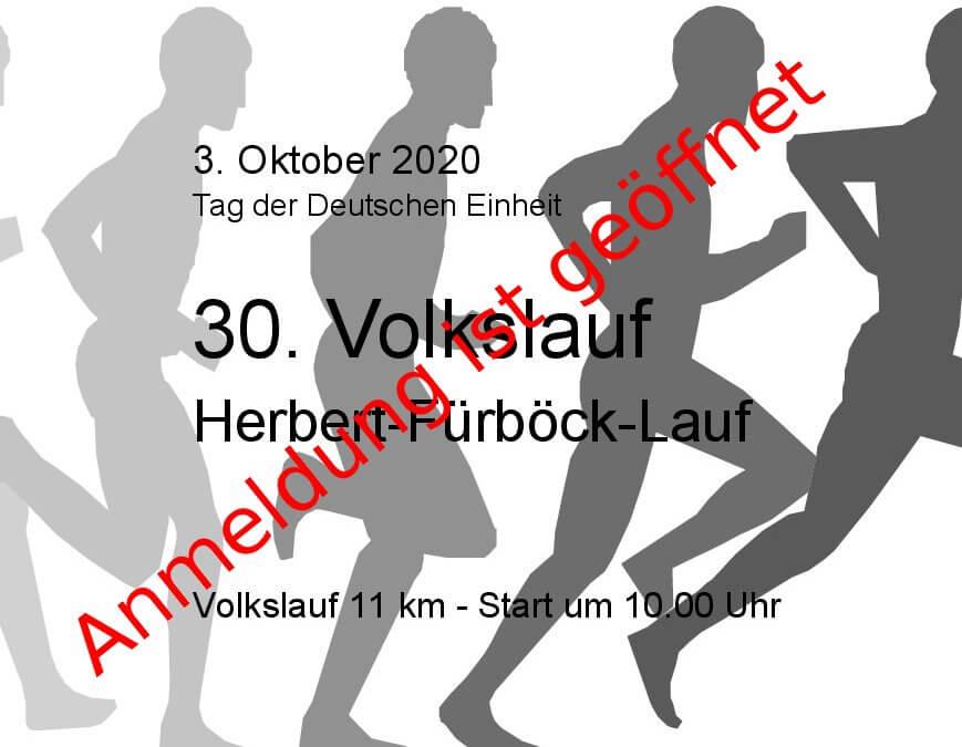 30. Volkslauf  am 3.Oktober wird zum Herbert-Fürböck-Lauf